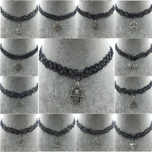 Choker with hamsa hand charm pendant necklace