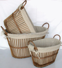 woven gift basket/picnic basket/wicker basket with liner unique wicker baskets