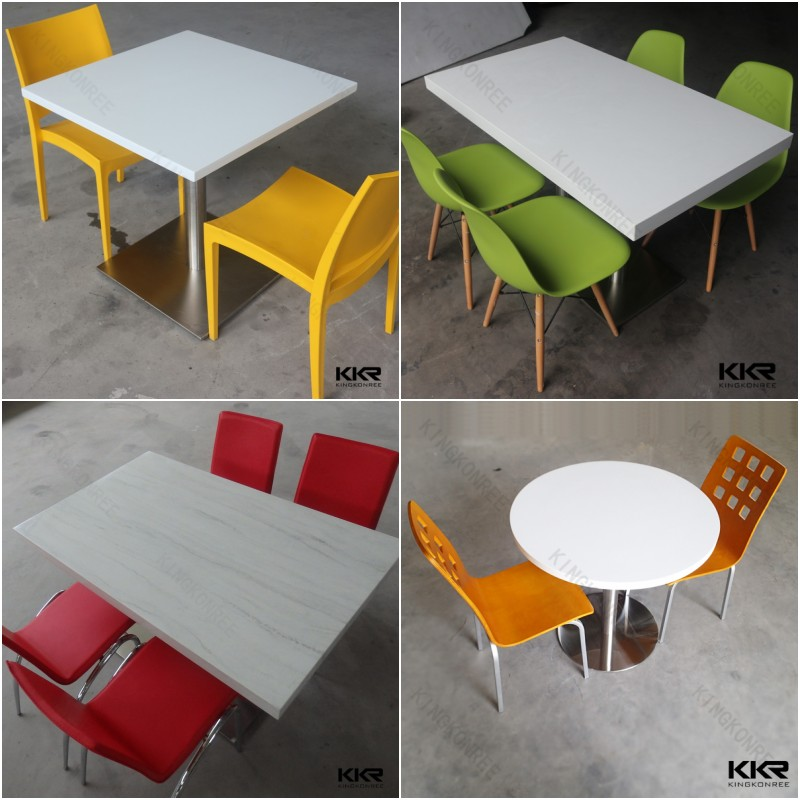 Solid surface white marble fast food restaurant table and chair
