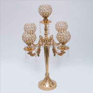 manufacturer 3/5 stand Metal/crystal gold candlestick wedding decoration European candle holders