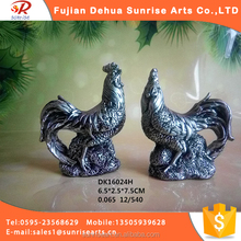 Rubber silver imitation porcelain rooster figurine sculpture