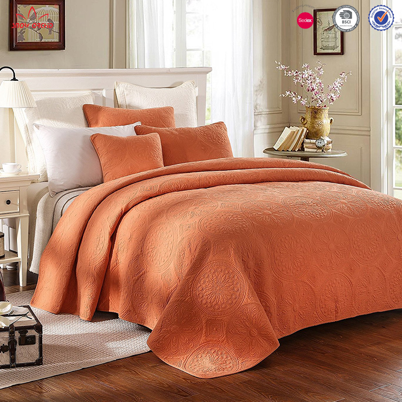 Luxury home bedding bedspread embroidered king size quilt cover sheet
