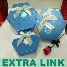 six sides packaging box with slik ribbon