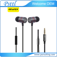 Awei Q5i Built-in Mic On-cord Control line type Metal in-ear Earphones Design Music Sport Sound Soft For All Mobile Phone mp3