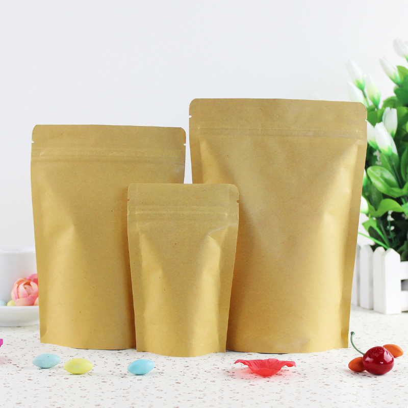 Custom Print Food Grade Aluminum Foil Lined Brown Craft Kraft Paper Bag with zip lock