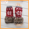 New Design snowflake wholesale lady knit Faux Fur fingerless Christmas gloves mittens