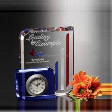 Unique business crystal table clock with engraving logo for clock theme souvenir