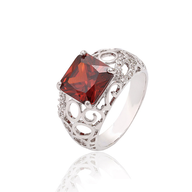 13288 Xuping latest gold crystal Stone Ring designs, costume finger ring for women, red stone ring