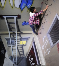 Hand-painted 3d street art wall art 3D magic oil painting