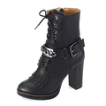 Black genuine leather lace up and special ornament round toe delicate 7cm wide stack high hee pop women's korean fashion boots