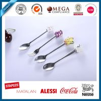SS18/0 steel spoon gift set with poly handle set for school kids