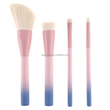 Factory 4 piece travel makeup brush set, wholesale pretty pink gradient dispersion make up brush kit for girl