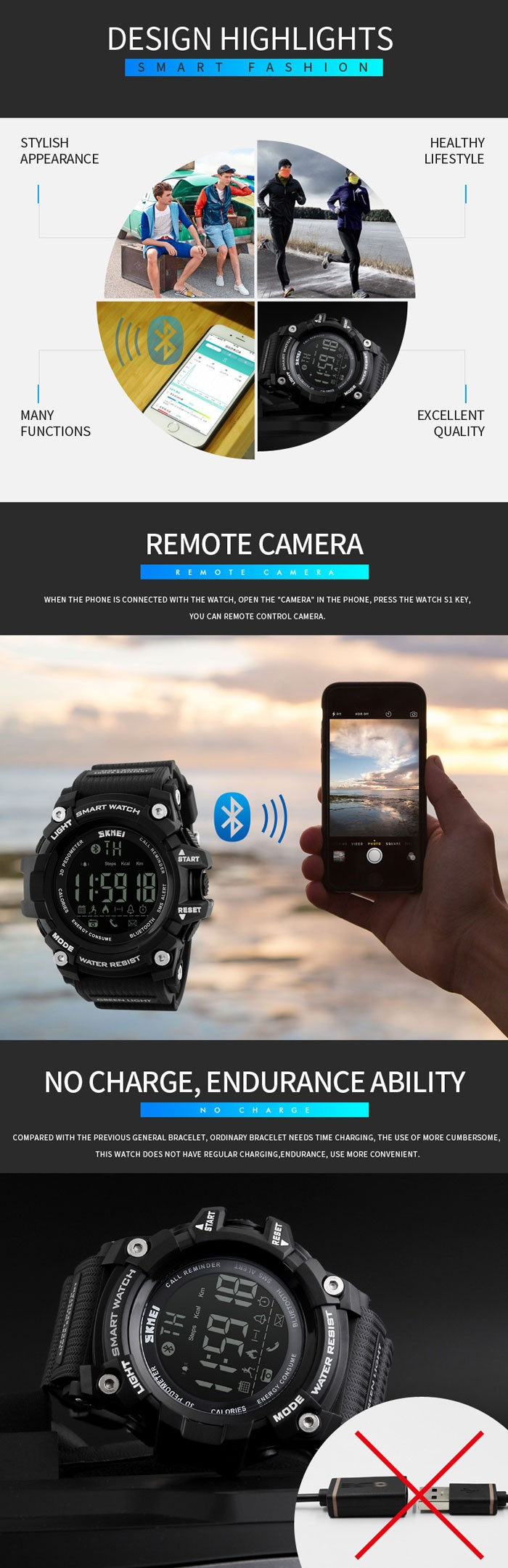 skmei 1227 relojes inteligentes  smart watch manual