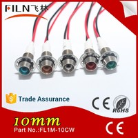 10mm panel mount 12 volt red led colours light mini led signal indicator lights with cable