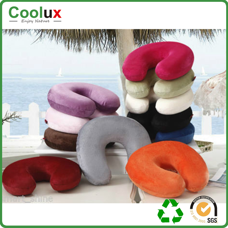 China temperature independent pressure relieving coolux user-friendly design airplane cow u neck pillow