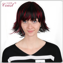 fashion short black synthetic hightlight hair