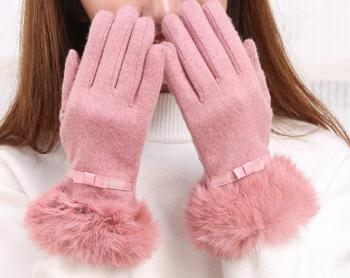 Double velvet cashmere touch screen wool gloves ladies rabbit fur cuff winter thickening driving cycling gloves