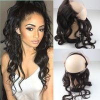 8A grade good raw natural hair material natural hair wholesale real mink bodywave 360 lace frontal