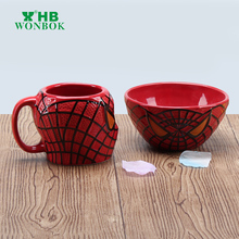 Latest design cheap red spider man ceramic cup & bowl with FDA grade