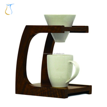 Costom White Cone Ceramic Pour Over Mountain Coffee dripper with Foldable Bamboo Wood Stand