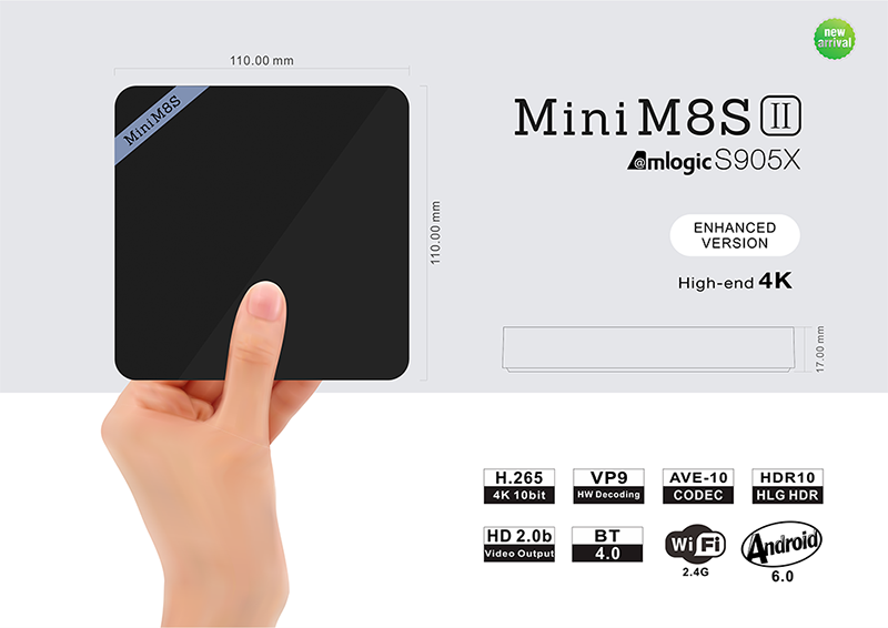 New android6.0 Mini M8S II Amlogic S905X android tv box 2 GB / 8 GB android 6.0 smart tv box