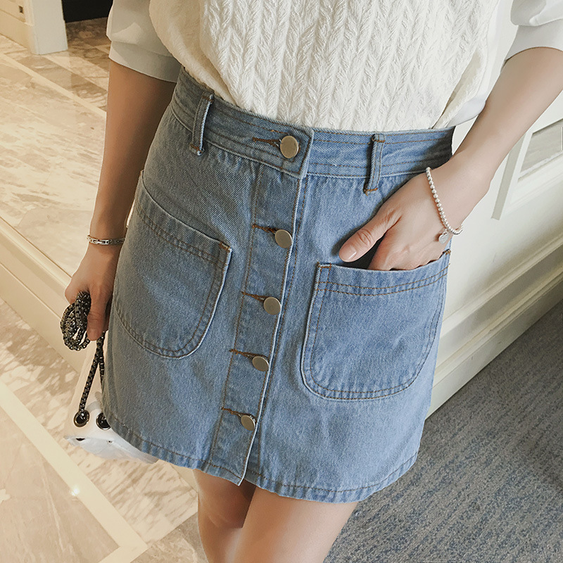 Wholesale Woman Denim A Line Pretty Button Short Skirt