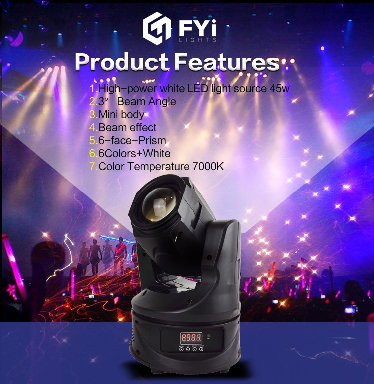 high power sky beam 45W sharpy beam stage lights mini led moving head