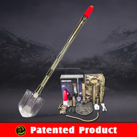 Outdoor Utility Camping Shovel Survival Kit Tools with Emergency Flashlight Vehicle Offroad Tools for Life-saving