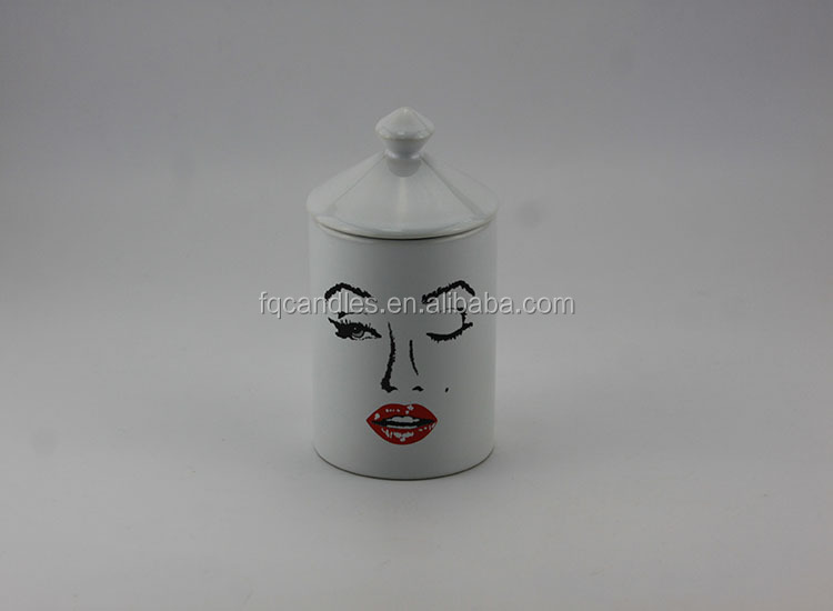 Wholesale Custom Logo Decal Ceramic Candle Jar Cup Empty With Top Quality