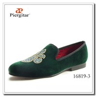 Fashion Men Footwear Green Velvet Loafers