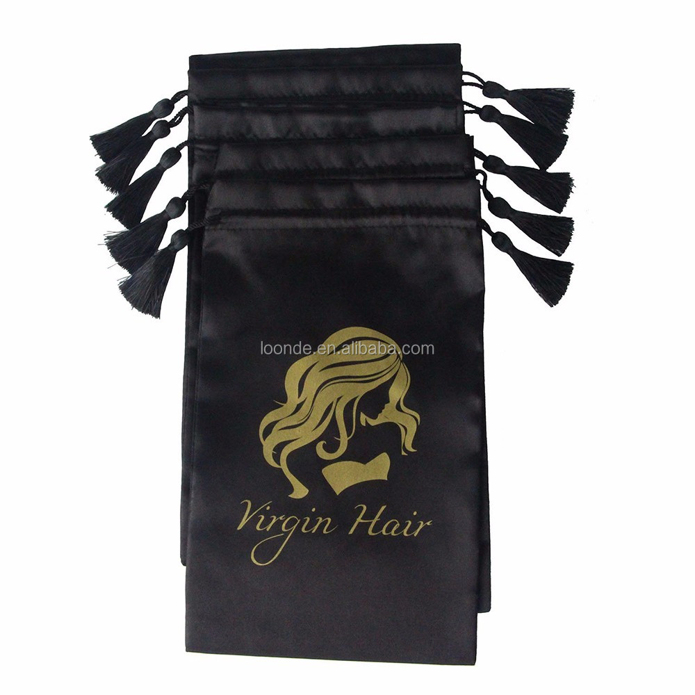 Best sell silk satin black hair extension display or carrier bag with gold printing