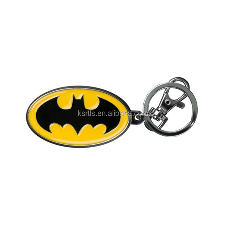 Hot selling products die casting soft enamel bat dark knight metal keychain custom