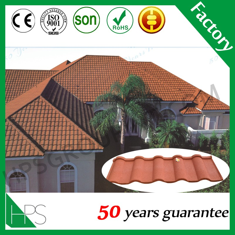 Brick red stone coated roof tile/ color steel roofing tiles
