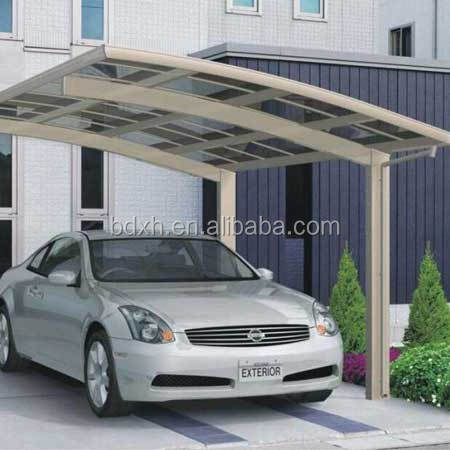 Outdoor New design fashion low price car canopy aluminum frame with PC sheet roofing