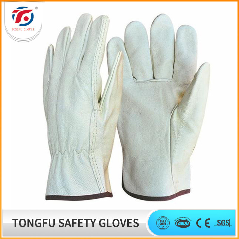 High Quality white Cow Grain / Goatskin Leather Drivers Gloves / Safety Work Gloves