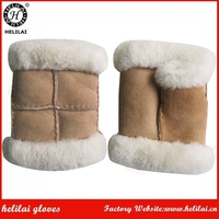 Women's Winter Warm Camel Fingerless Soft Sheep Suede Mittens for Ladies