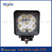 "2016 hot sale square 4"" 27w led working lamp, 4inch 27w led working light, 12V 24V 27w led work light for offroad truck SUV ATV"