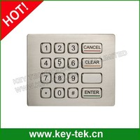 16 keys IP66 dynamic water proof vandal proof Stainless Steel keypad