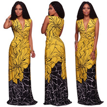 X61741A African Clothing Women Yellow Black Sexy Deep V Neck Sleeveless Party Summer Maxi Dress