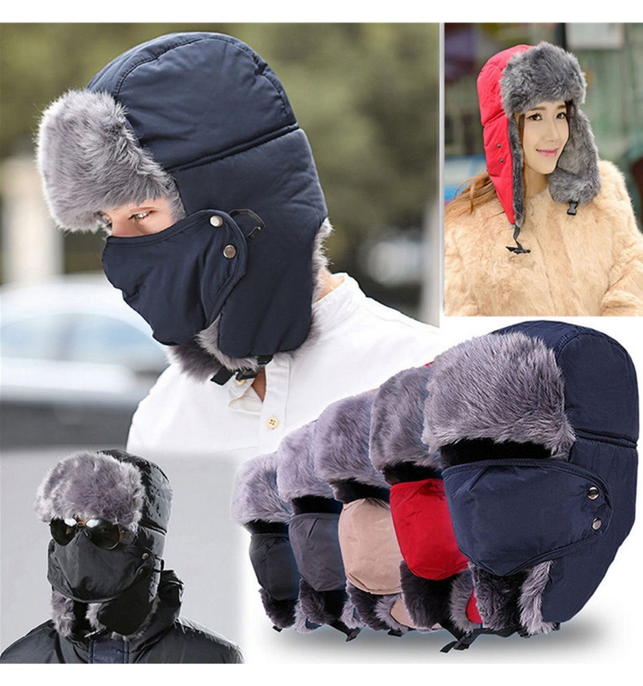 Winter Trapper Trooper Cap Warm Earflap Trapper Hat With Mask
