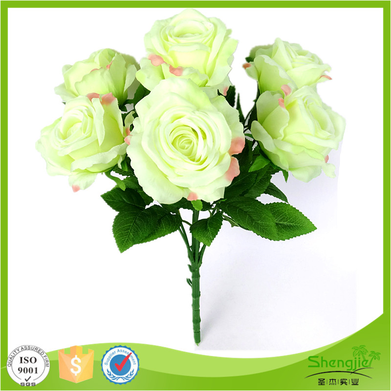 Hot 7 heads silk artificial bouquet rose flowers with leaves for decoration