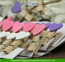 For Wedding Decoration Craft Mini Wooden Love Heart Pegs Photo Shaped Paper Clips clipper