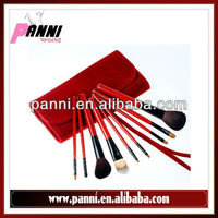 Beautiful & fashion 2013! wholesale 9pcs cosmetic brush packing with red leather pouch