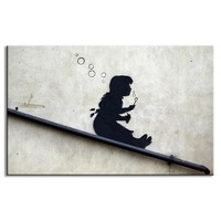 Banksy art Blowing Bubbles on the roof canvas printed painting