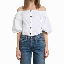 Elgant stylish ladies cheap plain dyed off shoulder white tops