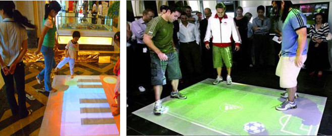 Magic e-paper interactive floor /wall/interactive projector for advertising,event,shopping mall,children games