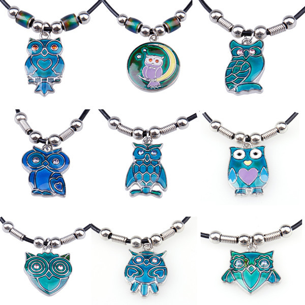 Outspread Wings Owl Pendant Color Changing Leather Mood Neckalce Jewelry Wholesale