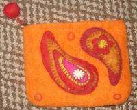 Felted decorative purse/orange