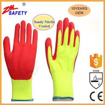 Sandy Nitrile Coated Cut Resistant Safety Work Gloves For Sale