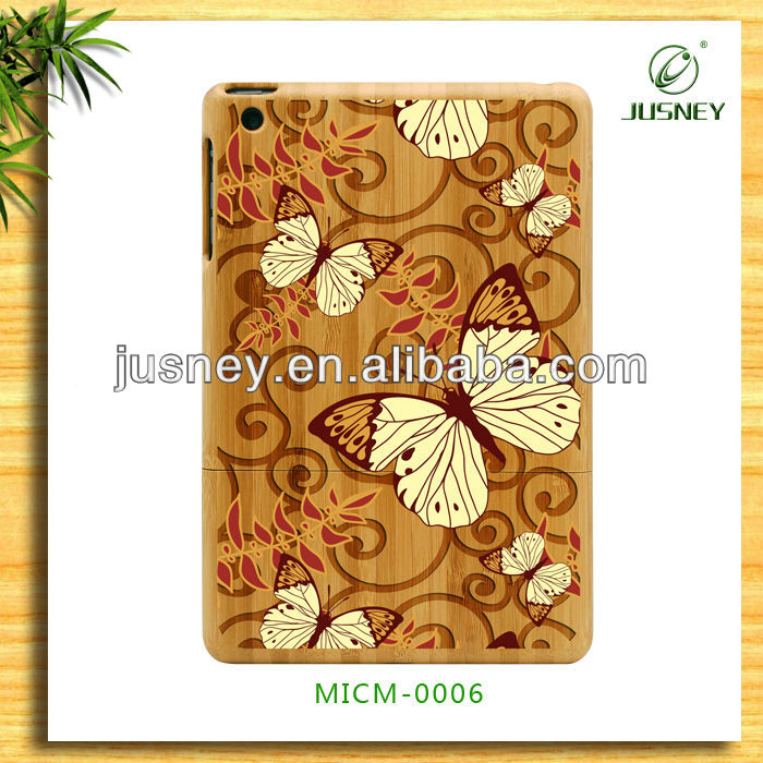 2013 new laster product original wood case for ipad mini with colourful butterfly design